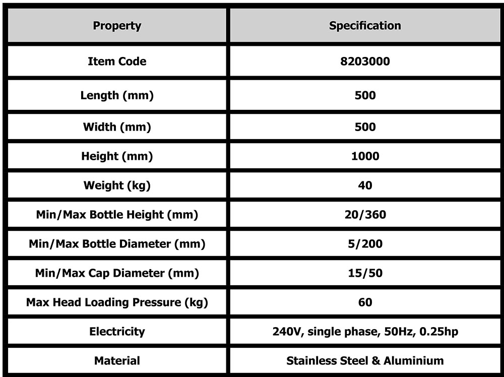 ROPP capping machine product table